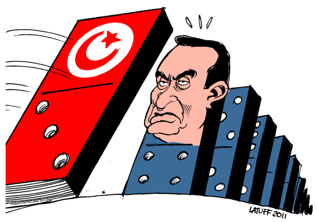 Depicting Mubarak's regime waiting his turn after the Tunisian revolution