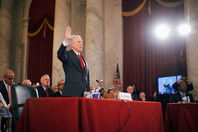Jeff Sessions, President-elect Donald Trump's choice for Attorney General, being sworn in at his confirmation hearing