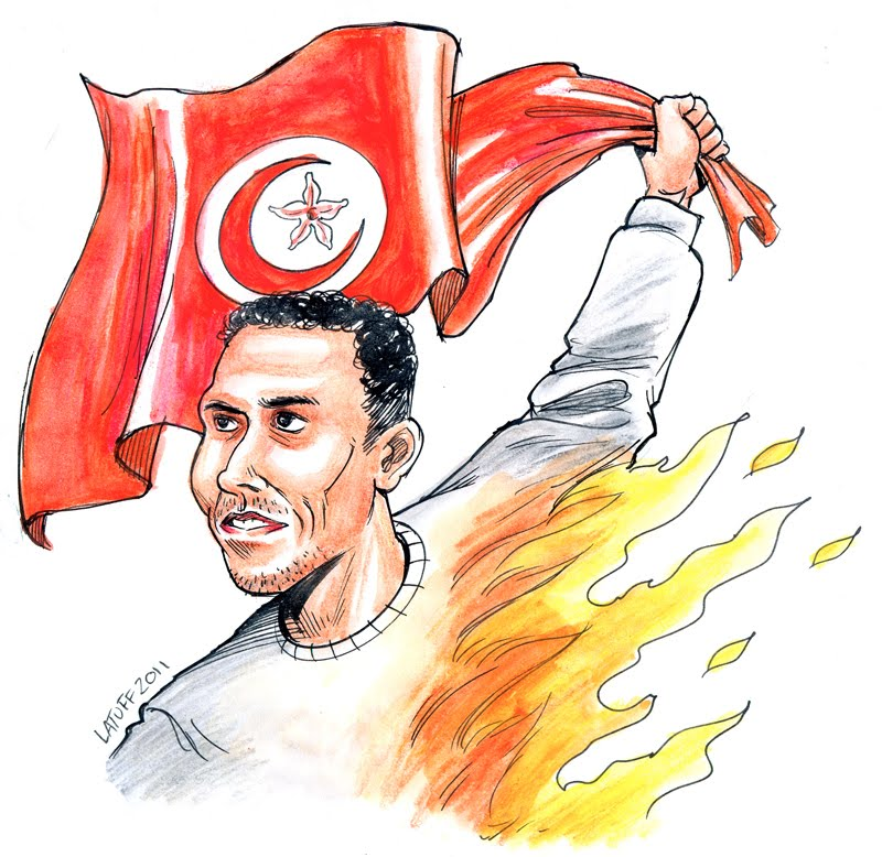 Bouazizi who set himself on fire initiating the Tunisian revolution