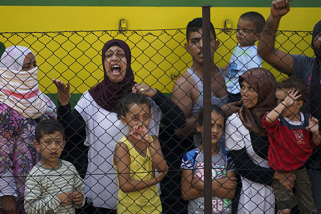 Women and children among Syrian refugees striking at the platform of Budapest Keleti railway station. Refugee crisis. Budapest, Hungary, Central Europe, 4 September 2015